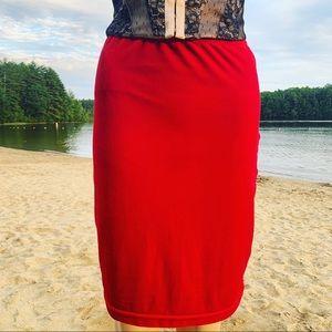 Candy Apple Stretch Velvet Bodycon Pencil Skirt
